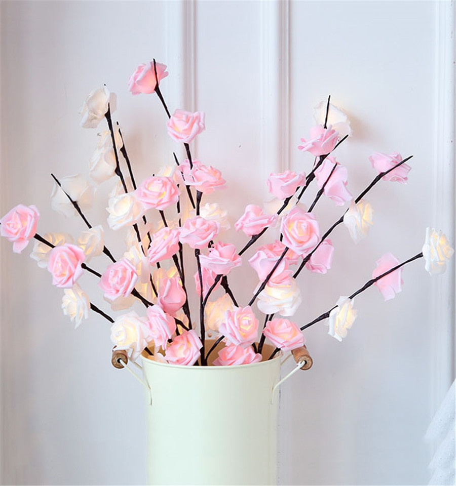 diy led rosa flor salgueiro ramo lampada 04