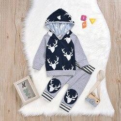 Bebê recém-nascido meninas roupas 2019 outono bebê meninos roupas de natal dos desenhos animados veados com capuz topos + calças roupas do bebê conjuntos