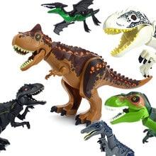 Figuras de dinosaurios del Mundo Jurásico, bloques de construcción, Tiranosaurio Rex i-rex, pterosauro, tiranosaurio, montar piezas, juguete de dinosaurio