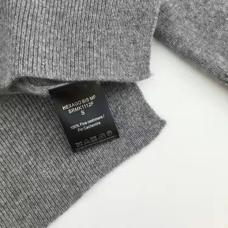 Camisola feminina nova camisola de caxemira de malha simples carta padrão manga longa em torno do pescoço - 4