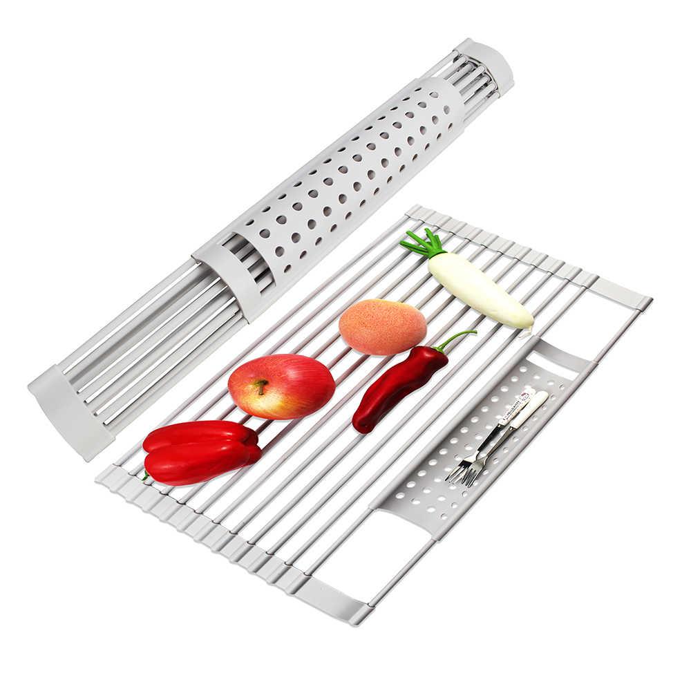 47cm Noir 37cm Cuisine Rouleau Stores /Évier Rack /Égouttoir Vaisselle Pliable Rack De Stockage De Fruits Et L/égumes Support Disolation Pad Chrome