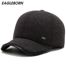 Winter Men Baseball Cap Cotton Hat Warm Thick Baseball Hat D