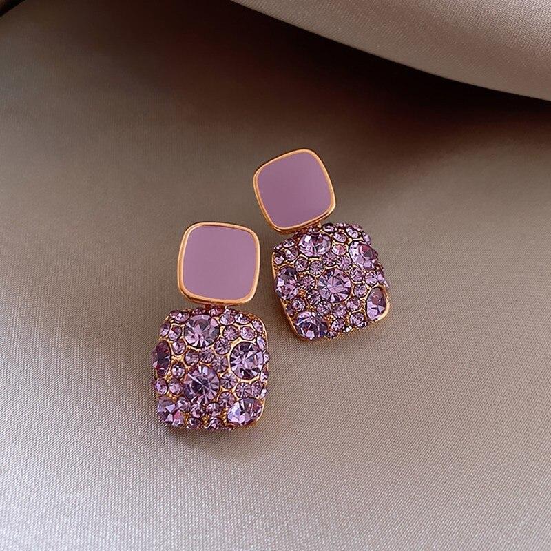 New 2020 Korean purple shiny crystal geometric Women Earrings contracted sweet lovely heart fine fashion Drop earrings Jewelry