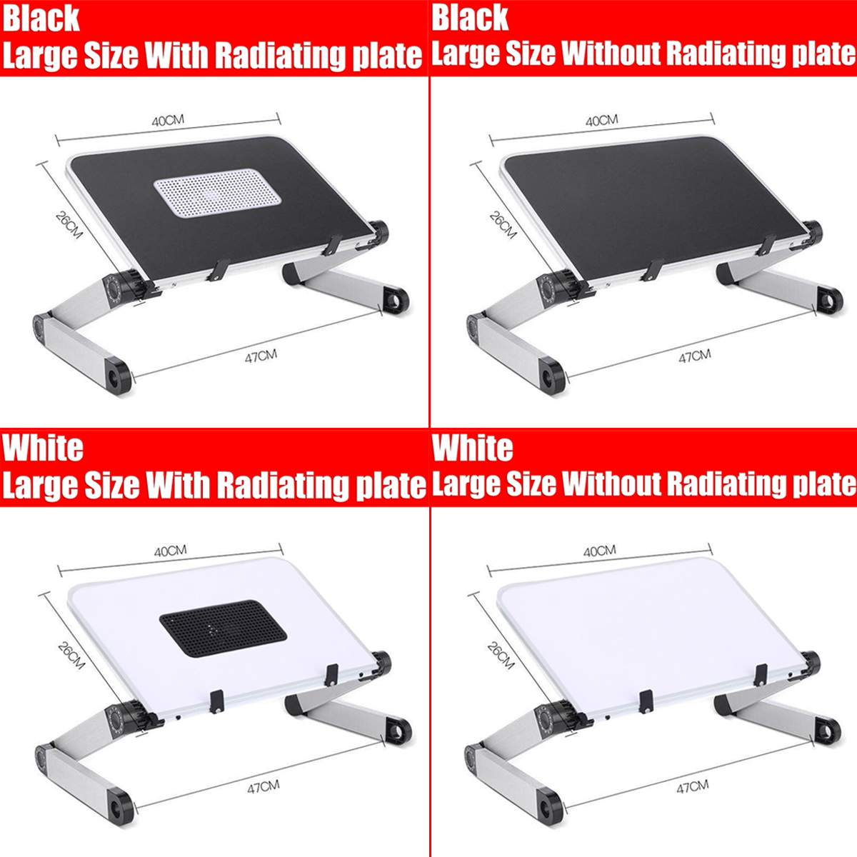 Big Portable Foldable Adjustable Folding Table For Laptop Desk Computer Mesa Para Notebook Stand Tray For Sofa Bed Black White
