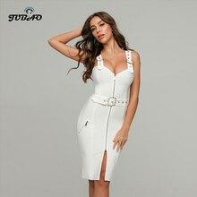 White halter dress women Love neckline Belt decoration Knee-