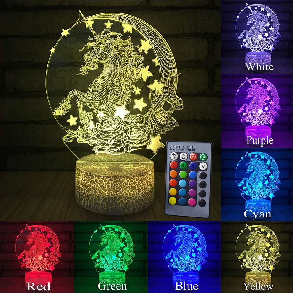 Unicorn Lamp Night Light Pegasus 3D Led Lamps Night Light LED Night Light Decor Led Light Lamp Led Touch Light Child Lamp D30
