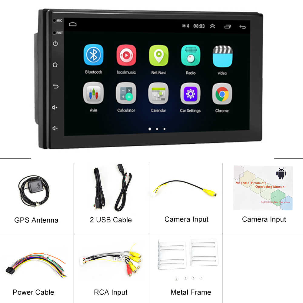 Podofo Universal Android 9.1 2dinวิทยุรถGPSมัลติมีเดียMP5 ผู้เล่นรถยนต์ออโต้สเตอริโอวิทยุ 2 DinสำหรับVWนิสสันhyundai Toyota