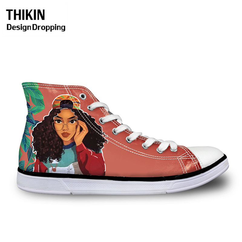 THIKIN Women Vulcanize Shoes for Black Art African American Girl Printing High Top Canvas Shoes Ladies Sneakers Zapatos Mujer