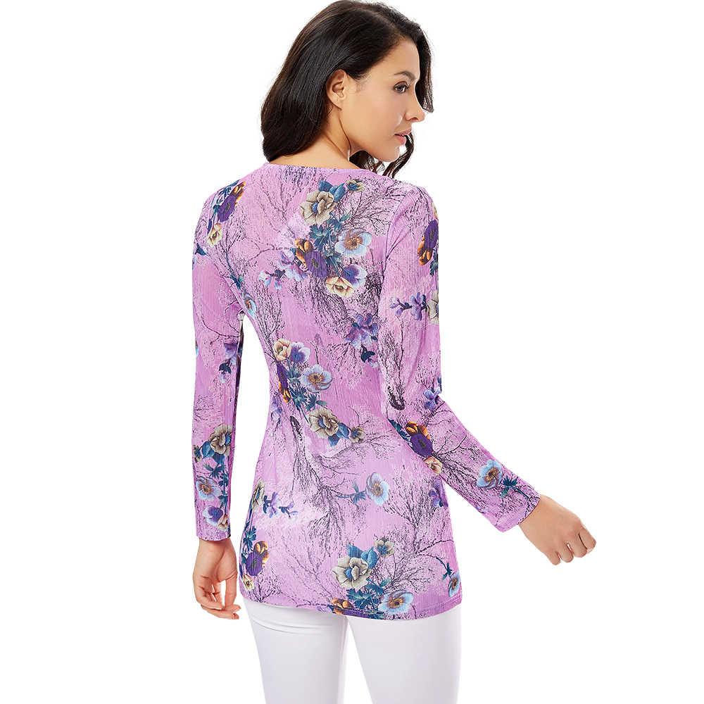 YTL женская блузка с длинным рукавом и квадратным вырезом, элегантная плиссированная блузка с цветочным принтом, Топы XS - 8XL H164N