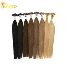 """Sindra 1""""-24"""" Наращивание волос 1 г/шт. 50 г 100 г/упак. Remy плоский наконечник прямые кератиновые предварительно склеивающие человеческие волосы"""