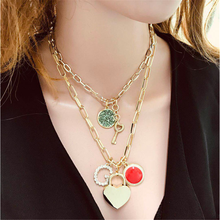 Vintage Multi Layer Miami Cuban Gothic Lock Pendant Necklace Punk Multi Layered Chain Choker Goth Padlock Chunky Necklace Women attractive solid color pendant multi layered women s necklace