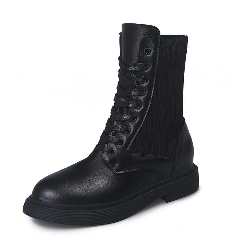 LZJ Zapatos Mujer Nieuwe Vrouwen Laarzen Lederen Enkel Martens Laarzen voor Vrouwen Casual Dr Motorfiets Schoenen Warm Bont Winter Paar schoenen