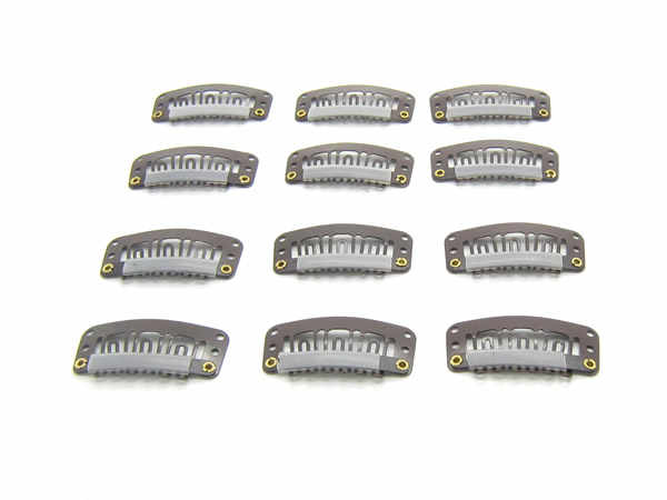 20 piezas 32mm 6 dientes pinzas de extensión de pelo broche de Metal con la parte posterior de silicona para Clip en el cabello humano extensiones de Clips de peluca LZH0102