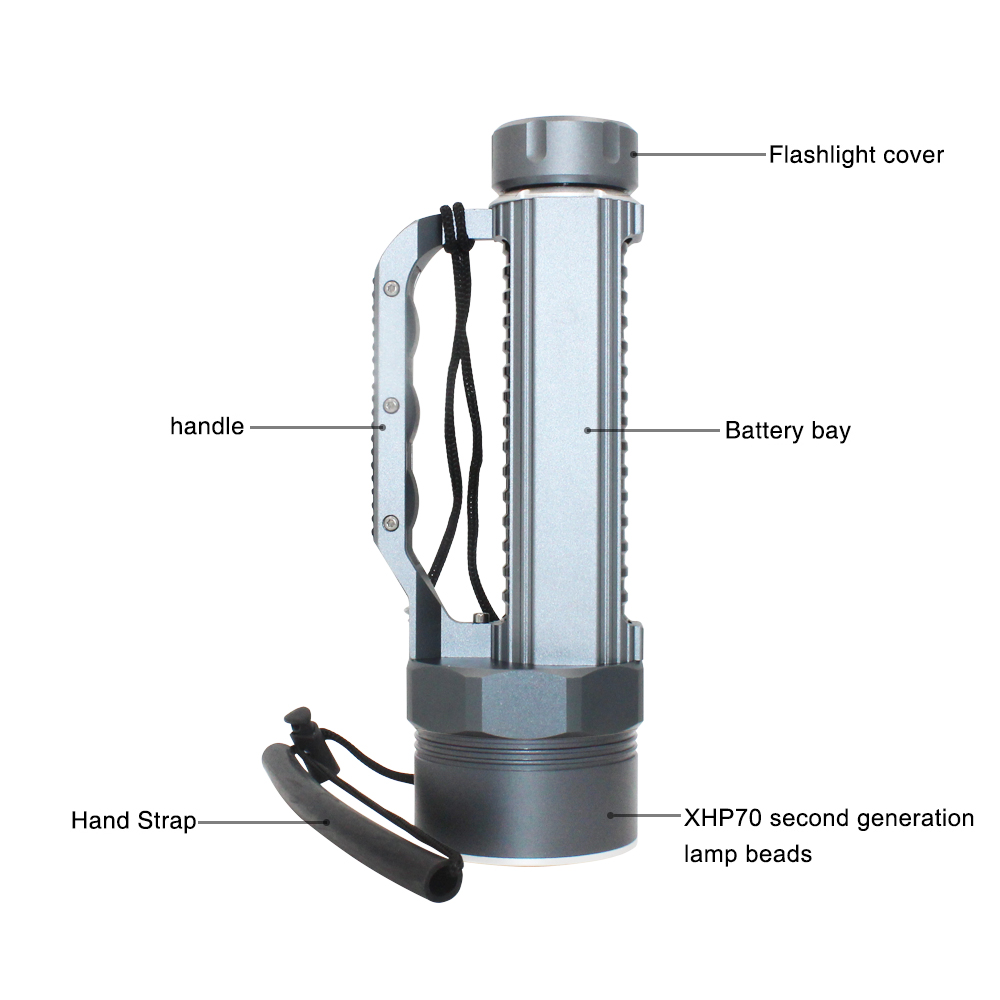 Super lumineux XHP70.2 LED lampe torche de plongée 26650 32650 Waterpoof 100m sous marin 10000lm plongée 6 * xhp70. 2 lampe de plongée - 4
