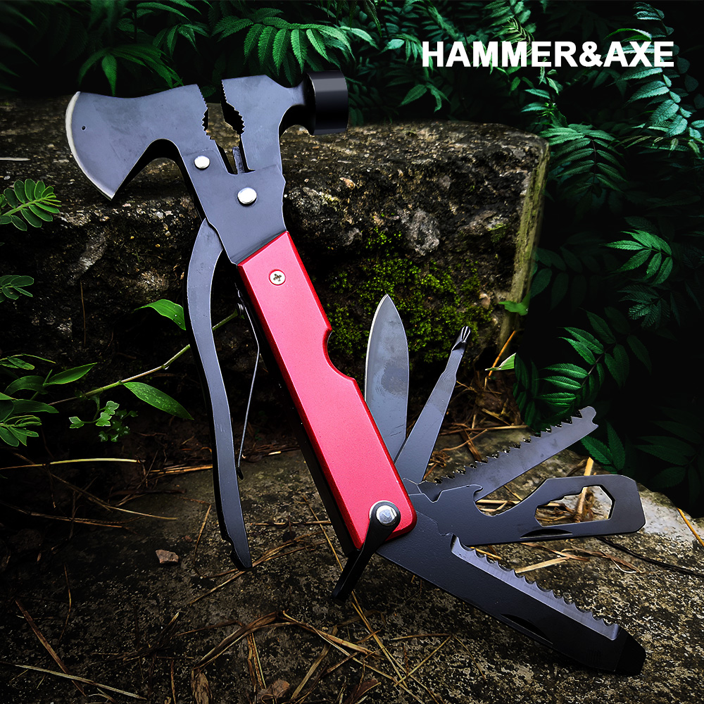 Outdoor Camping Wild Axe Multi Tools Heavy Duty Twin Axe/Hammer Hatchet Folding Knife Survival Multifunctional Tool Machete image