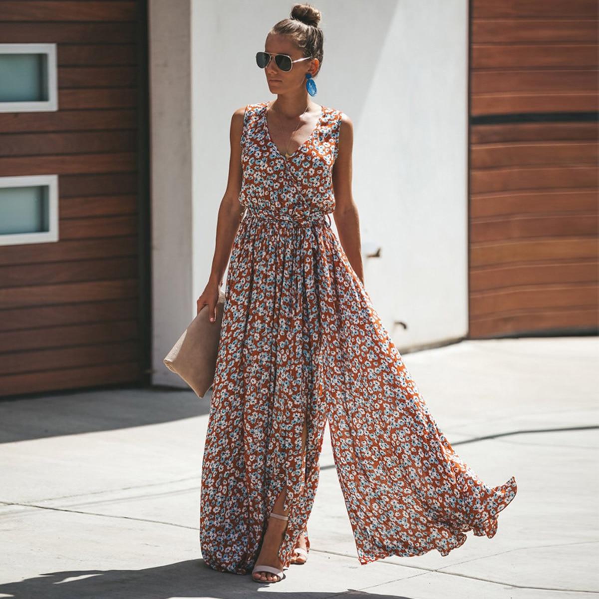 Jastie Women Summer Dress Floral Print Maxi  1