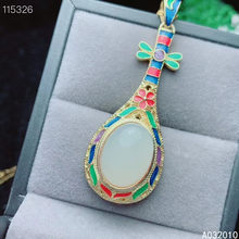 KJJEAXCMY Fine Jewelry 925 Sterling Silver inlaid Natural white jade Cloisonne luxury Female new Pendant Necklace Support test
