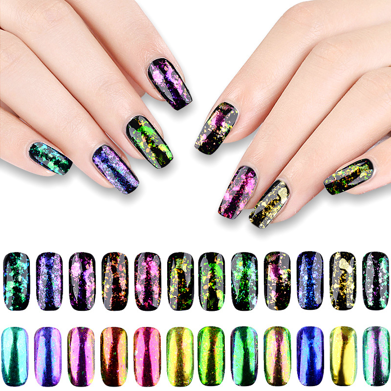 Best Nail Glitter Shiny Matte Shell Colorful Nail Art Pigment Dust Powder Manicure Nail Decorations Bt08