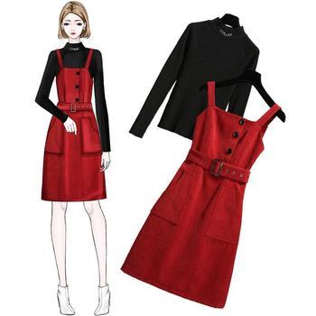 ICHOIX 2 個セット女性ドレス韓国スタイル赤ストラップドレスカジュアルツーピースの衣装ニットトップス少女衣装 2019