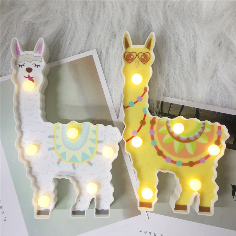 Novelty 3D Led Alpaca Night Light Battery Power Lamp Kids Gift Toy For Baby Sleeping Bedside Desk Table Decoration Lighting