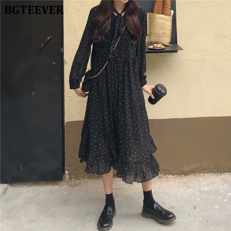 BGTEEVER Elegant Polka Dots Print Women Chiffon Dress Vintage Loose Long Dress Lace-up Female A-line Vestidos femme 2020 Spring