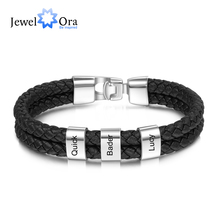 JewelOra Personalized Engraved Family Name Beads Bracelets Black Braided Leather Stainless Steel Bracelets for Men Fathers mkendn new design braided genuine leather bracelets men stainless steel airplane anchor bracelets female friendship gifts