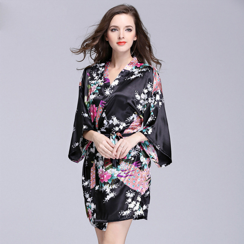 New Style Imitated Silk Fabric Women's Robes Women's Spring And Autumn Summer Half-sleeve Shirt Pajamas Bathrobe Plus-sized Trac