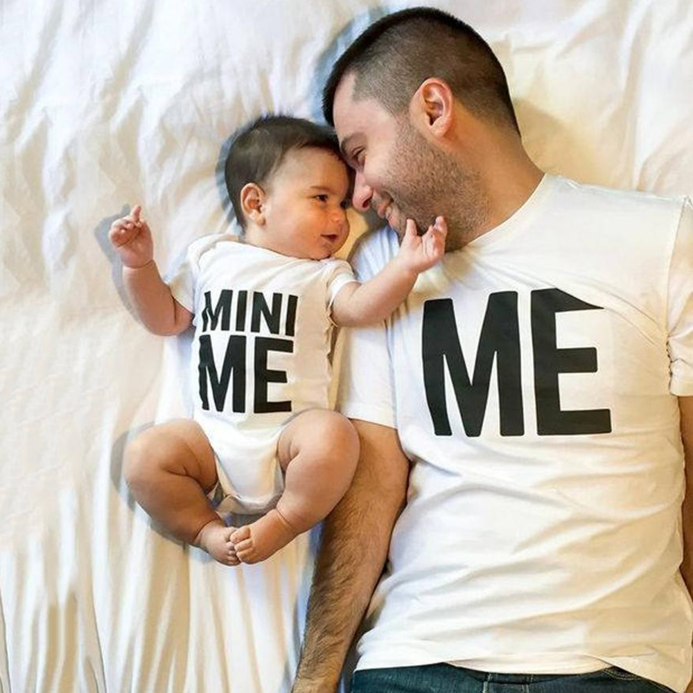 1pcs ME&MINI ME Daddy T Shirt and BabyRomper Family Matching Outfit Dad Kids Baby Funny Short Sleeve T-shirt Outfit