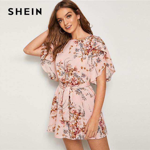SHEIN Pastel Pink Split Sleeve Self Belted Floral Print Dress Women Summer Boat Neck Bohemian Ladies Straight Short Dresses