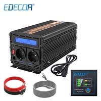 EDECOA UPS charger power inverter 1500W 3000W DC 12V AC 220V 230V 240V pure sine wave with USB remote controller LCD display