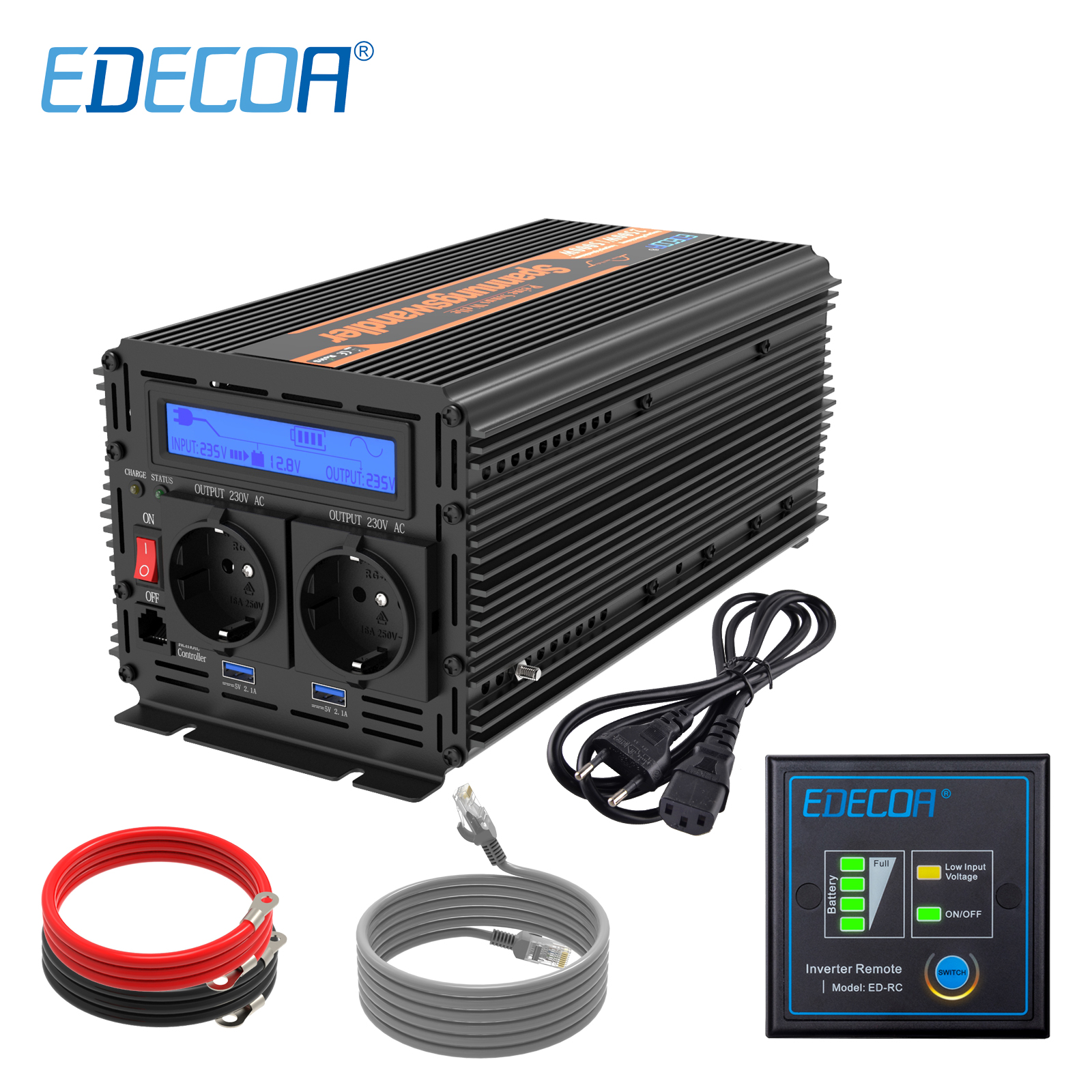 EDECOA UPS ladegerät power inverter 1500W 3000W DC 12V AC 220V <font><b>230V</b></font> 240V reine sinus welle mit <font><b>USB</b></font> fernbedienung LCD display image