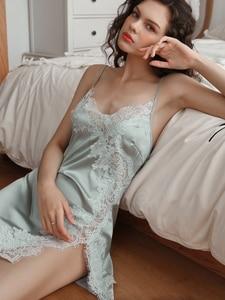 Image 2 - Summer Sexy Nightgown for Women Hollow Lace Seduction Ice Silk Nightwear SleepwearLingerie Slits Nightdress V neck Nightie