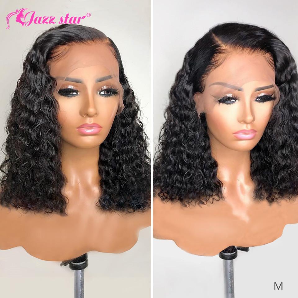 Brazilian Wig Deep Wave Wig Bob Lace Front Wigs 13x4 Lace Front Human Hair Wigs Pre-plucked With Baby Hair Jazz Star Non-Remy