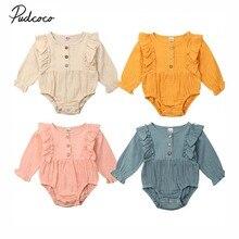 Коллекция года, весенне-осенняя одежда для малышей комбинезон с длинными рукавами для новорожденных девочек, хлопковый комплект одежды из льна