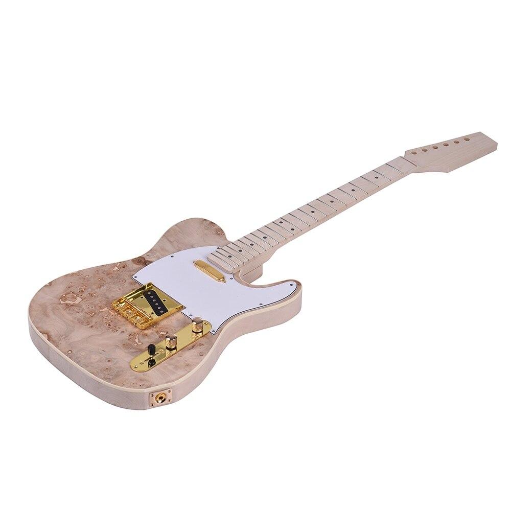 Ammoon TL Tele kit de bricolage de guitare électrique non fini corps de tilleul Surface de ronce touche de cou en bois d'érable avec micro-bobine simple - 3