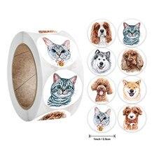 Adesivi 500 pz/rotolo insegnante ricompensa adesivo divertente motivazione gatto cane adesivo per insegnante di scuola studenti adesivi di cancelleria bambini
