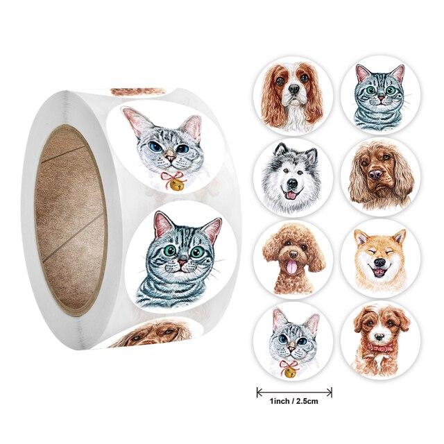 Stickers 500 pcs/roll Teacher Reward Sticker Fun Motivation Cat Dog Stickerfor School Teacher Student Stationery Stickers Kids