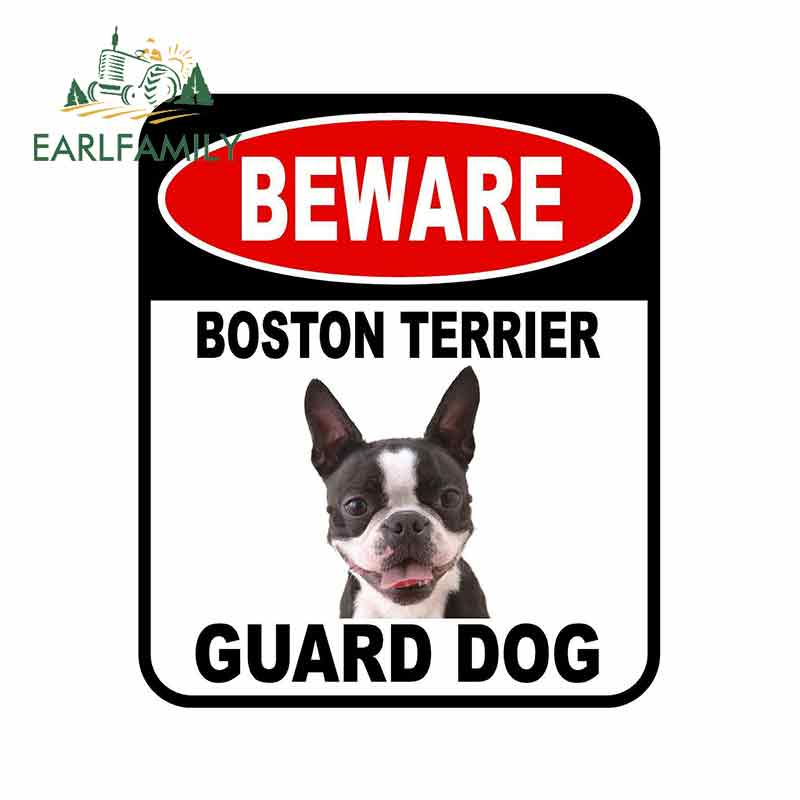 EARLFAMILY 13cm x 11cm BEWARE BOSTON TERRIER GUARD DOG Car Sticker Cover Scratches Composite Sign Pet Dog Decal