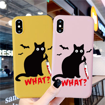 GYKZ Funny Black Cat What Murderous Cat Knife Phone Case For iPhone 7 SE 2020 XR X 11 Pro XS MAX 8 6Plus Silicone Soft Cover Bag image