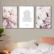 Scandinavian Art Flower Canvas Poster Pink Peony Floral Print Painting Nordic Style Quote Wall Picture Modern Living Room Decor