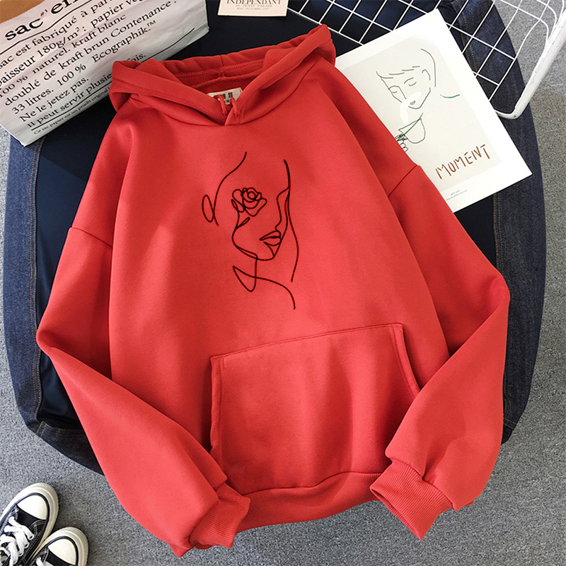 Hoodies Women Graphic Print Hooded Sweatshirt Simple Leisure Pullovers Pockets Harajuku Casual Red Hoodie Sweatshirt Female