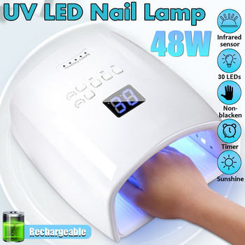 48W 10s/30s/60s timer Rechargeable UV LED Nail Lamp Light Gel Dryer Quick-Drying Nail Polish Machine 30pcs Lamp Beads
