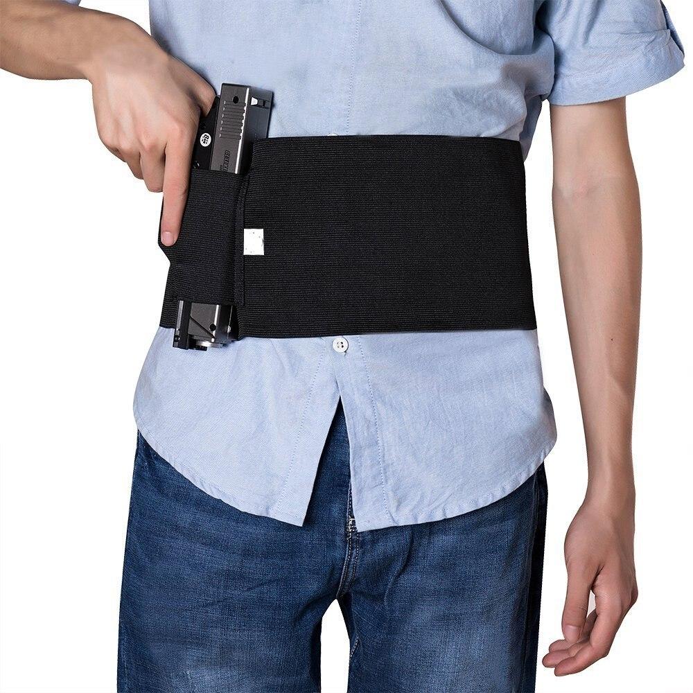 1 X Portable To Carry Tactical Elastic Waist Pistol Gun Holster /& 2 Pouches ER