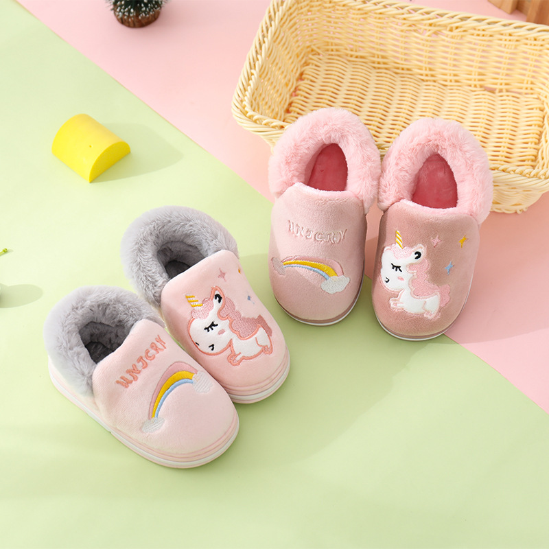 Kocotree Winter Kids Slippers Children Unicorn Non-slip Soft Girls Home Shoes Kids Boys Cartoon Slippers Indoor Floor Shoes