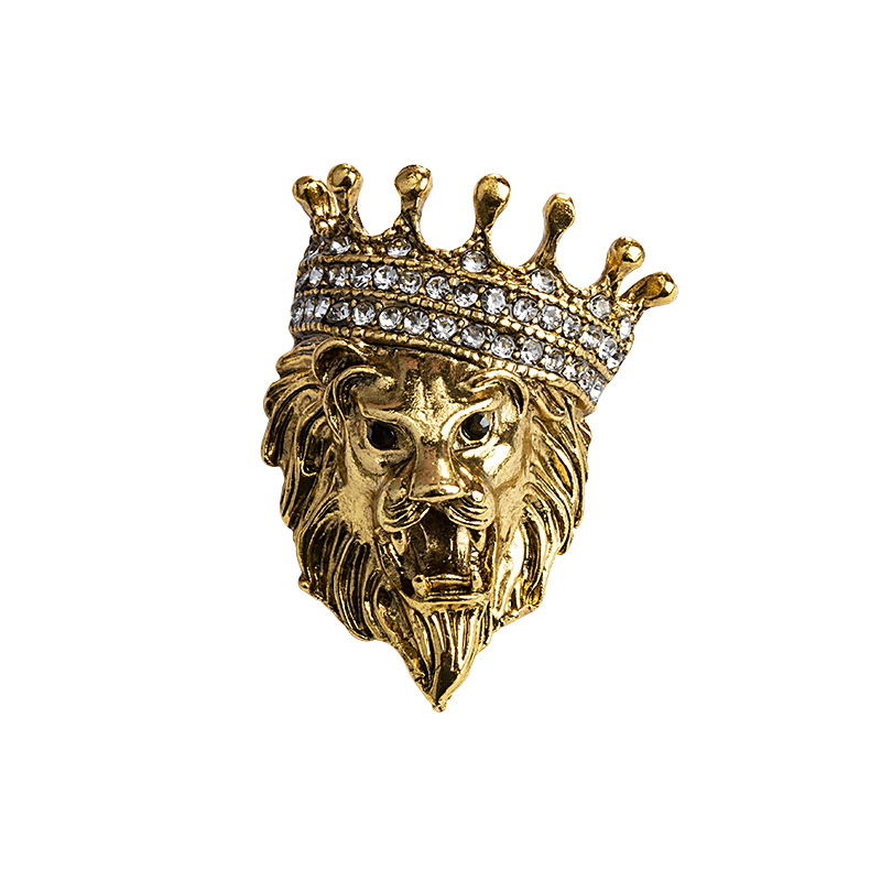 Vintage Animal Lion Head Brooch Crystal Crown Lapel Pin for Men and Women Suit Shirt Collar Pins Brooches Jewelry Accessories 4