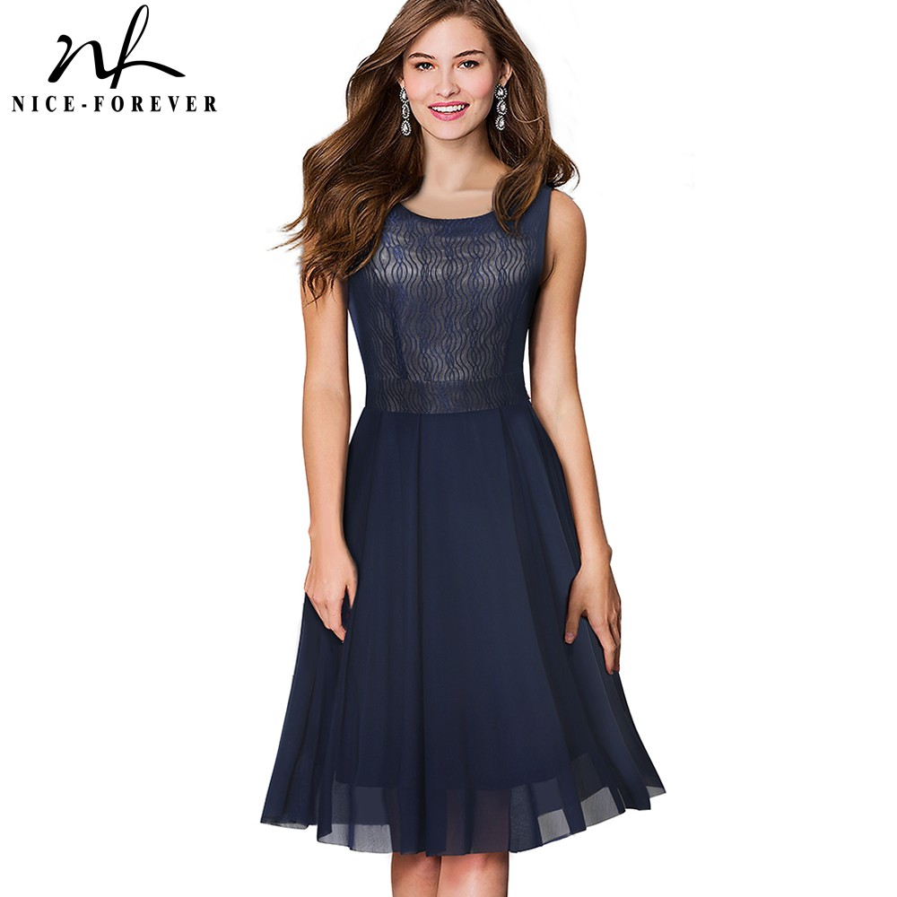 Nice-forever Summer Mesh Lace Retro Swing Dresses A-Line Flare Party Women Dress A054