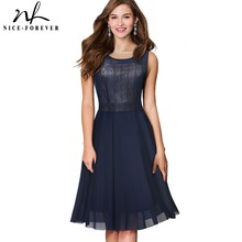 Nice-forever Summer Mesh Lace Retro Swing Dresses A-Line Flare Party Women