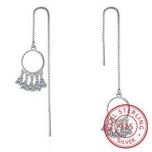 Женские длинные серьги «Ловец снов» серебряные сережки подвески