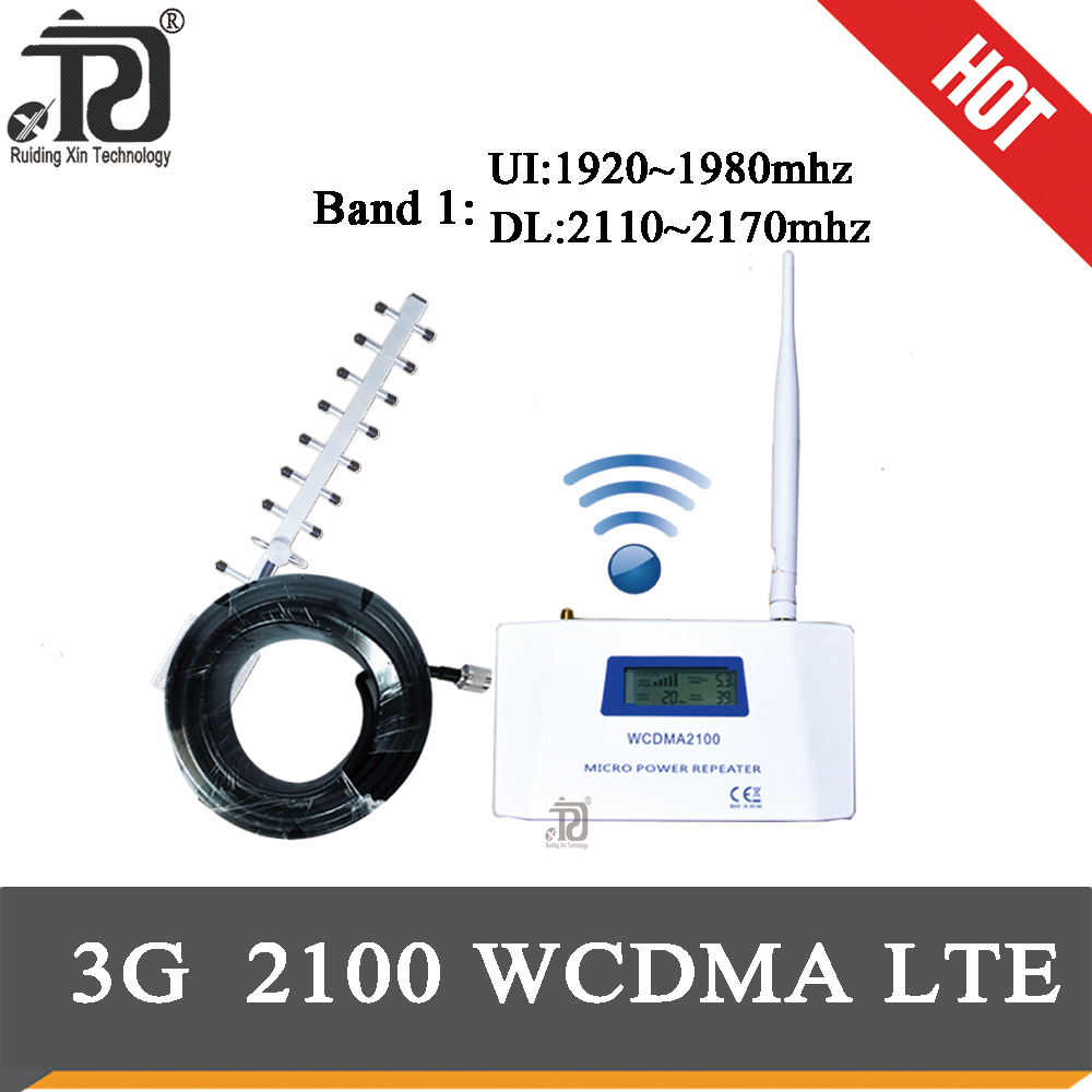 70dB Gain 4g Signal Booster 2100(LTE Band 1) WCDMA UMTS 3G Mobile Signal Booster +Whip Antenna+ Yagi Antenna+10m Cable Suit