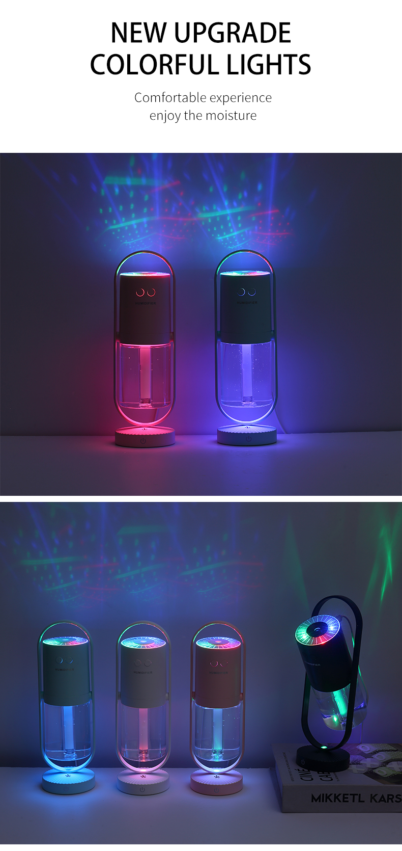 New Magic Negative Air Ion Humidifier 200ML Ultrasonic Essential Oil Diffuser Cool Mist Air Purifier 7 Color Lights Home Office